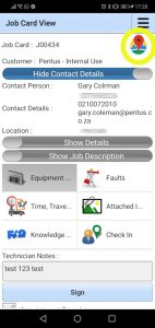 The Field Service App provides convenient Navigate To from the Mobile Application for Technicians
