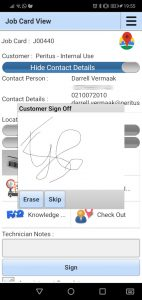 Customer signs off on the Job Card - no more searching for proof of delivery